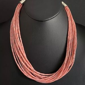 Jewelry - SterlingSilver MultiStrand Pink Coral BeadNecklace